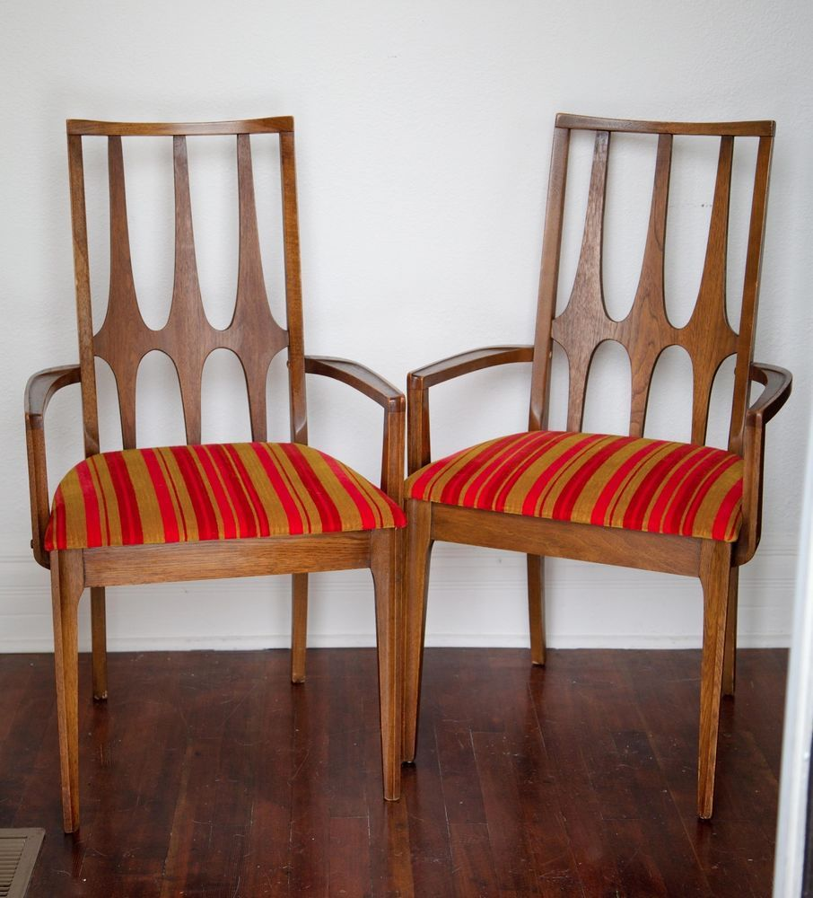 pair of very hard to find mid century modern mcm broyhill brasilia captains chairs with what i was told are the original upholstered seats