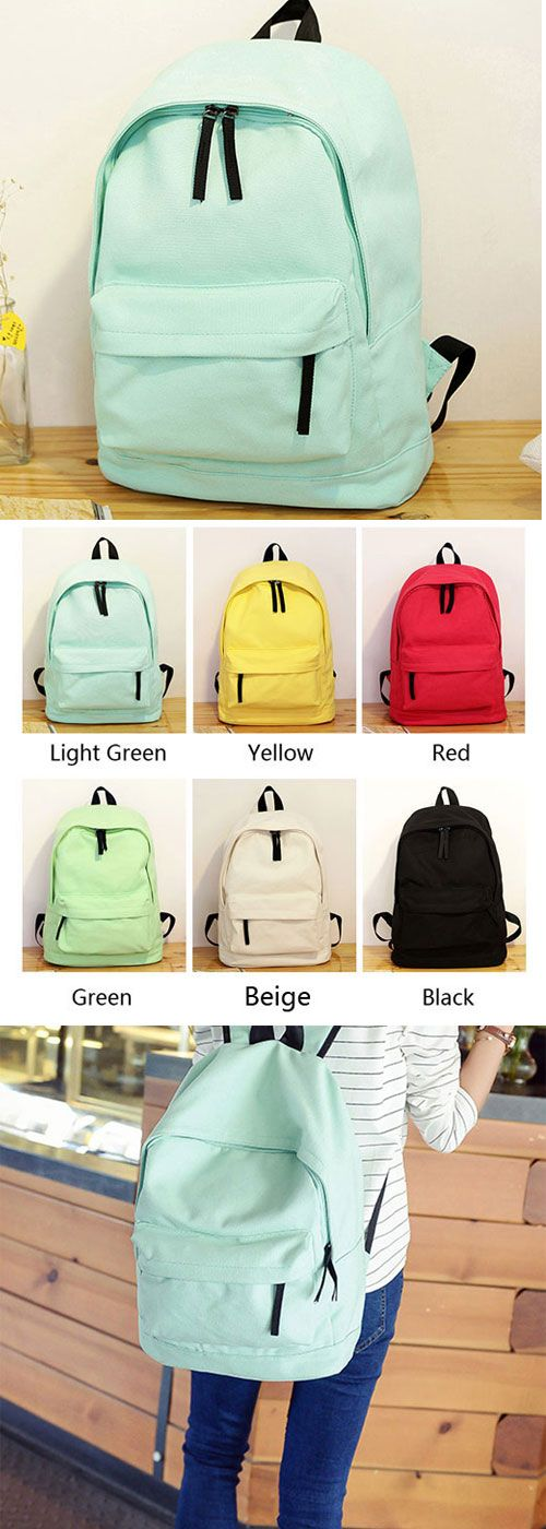 2265d51c950c So fresh backpack! Simple Pure Color Solid Student Rucksack School Bag For  Girl…
