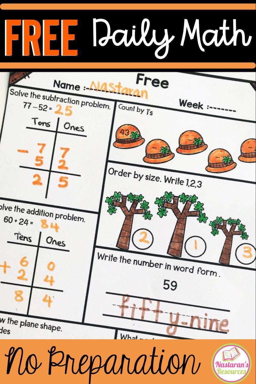 Daily Math Practice Grade 1 Free Nastaran S Resources Daily Math First Grade Math Math Review [ 1280 x 854 Pixel ]