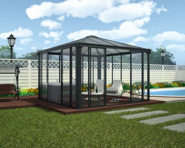 Tonnelle Fermee Et Abris Spa Palram Ledro 3000 8 7 M Alu Et Polycarbonate Leroy Merlin En 2020 Abri Spa Kiosque Jardin Belvedere
