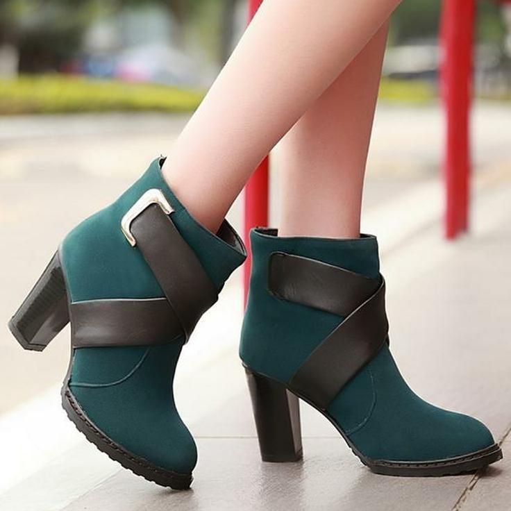Free shipping colors block ankle fashion boots for women shoes ...