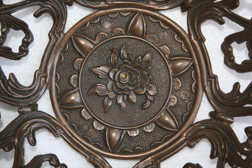 Vintage Filigree Ornate Rose Design Bowl Plate Tray Made in Italy Depose Decor