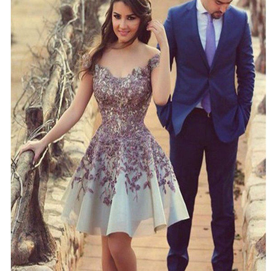 2017 Gorgeous Short with purple appliques casual junior homecoming ...