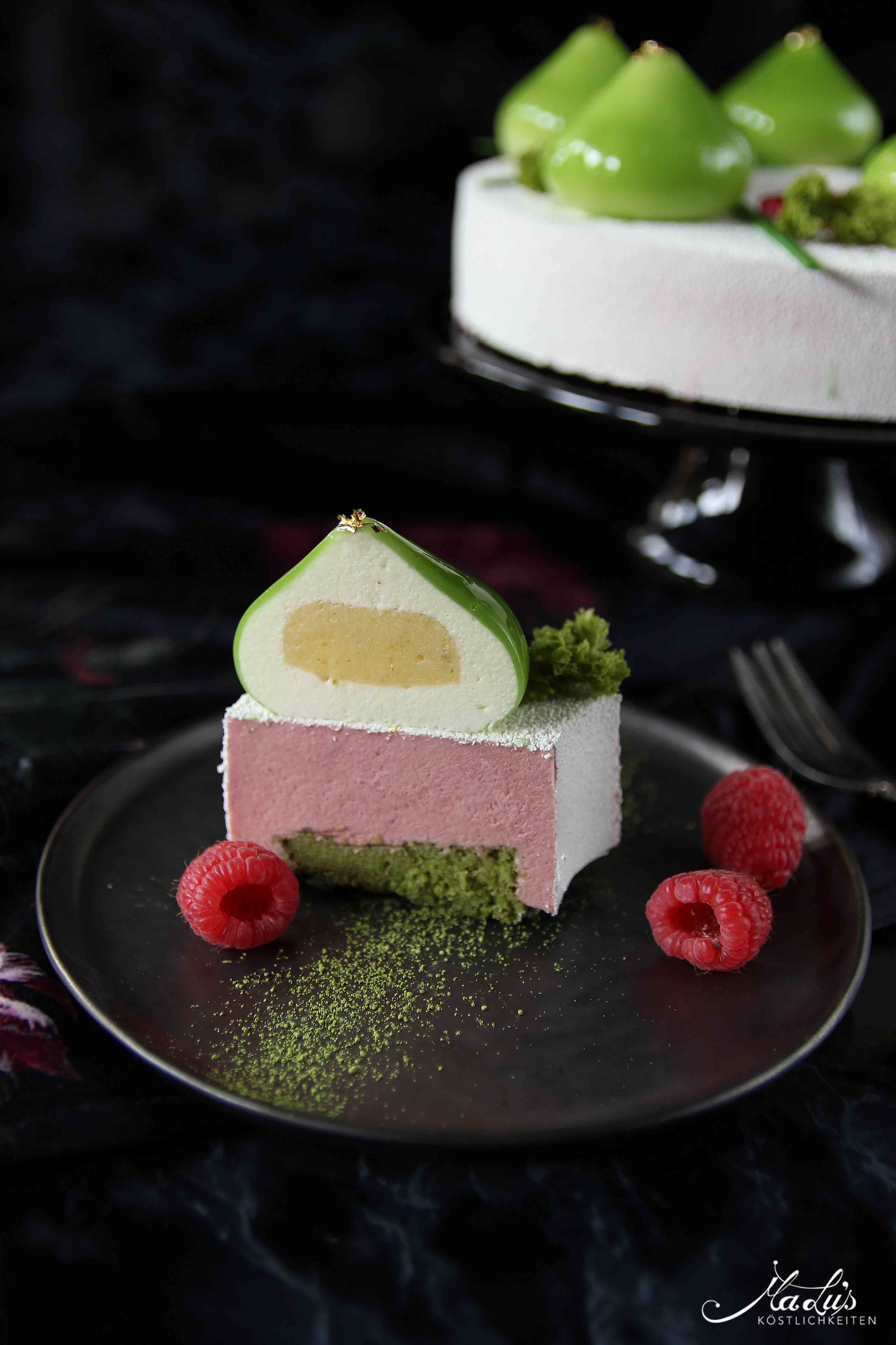 Photo of Lime and raspberry cake with rose & matcha