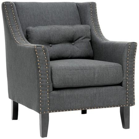 Gray Color And Studs Cool Michel Club Chair Linen
