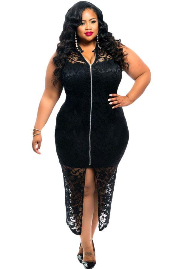Plus Size Sleeveless Lace Zipper Front Dress In Black La s Casual