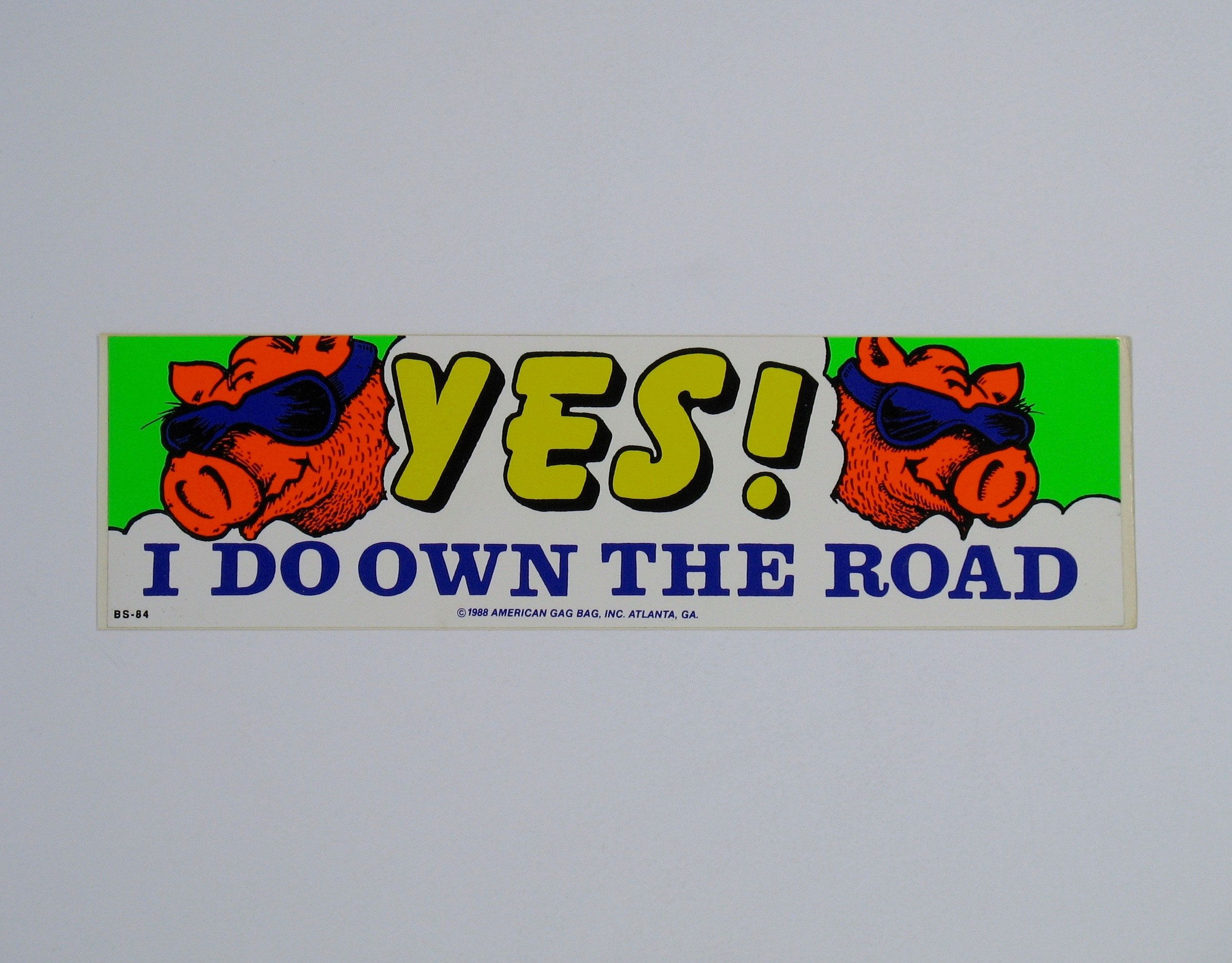 Vintage Bumper Sticker Decal Road Hog Neon Bright Color Funny Humor Car Camper Van Joke Gift 80s Biker Truck Driver Gearhead Pig Bumper Stickers Bumpers Stickers [ 1875 x 2398 Pixel ]