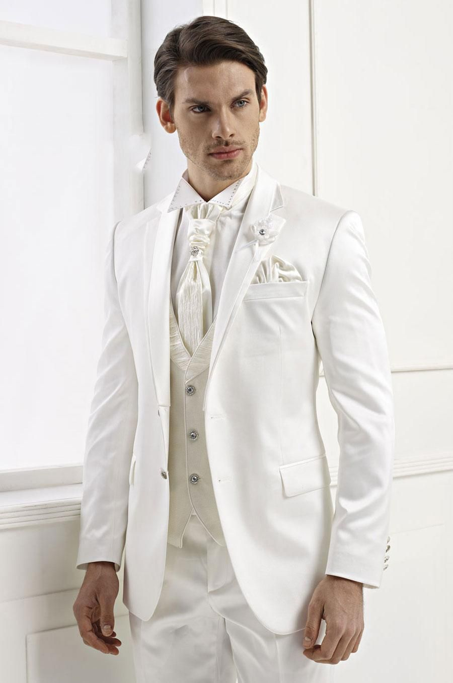 white wedding suits for Men shawl Lapel groom Tuxedos Groomsmen ...