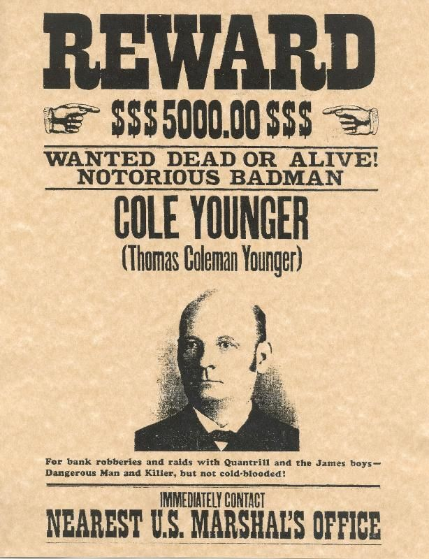 Old West Wanted Posters | Cole Younger Old West Wanted Poster ...