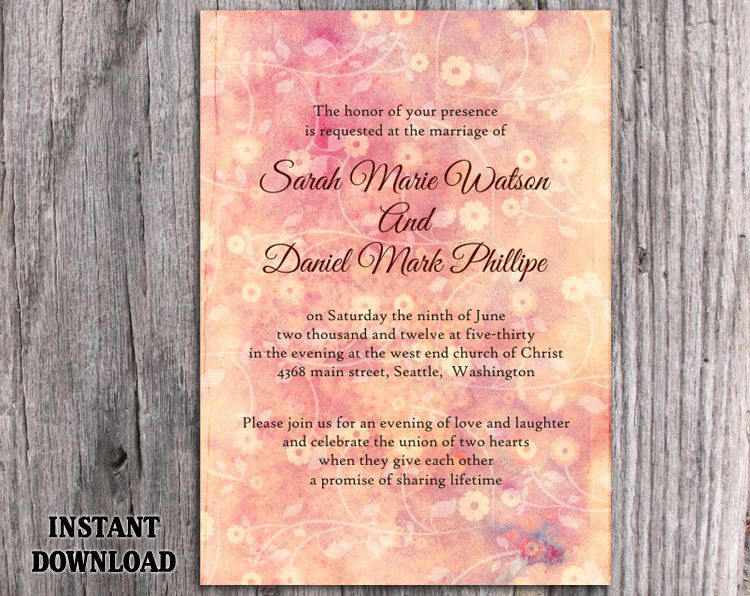 Wedding Invitation Template Download Printable Invitations