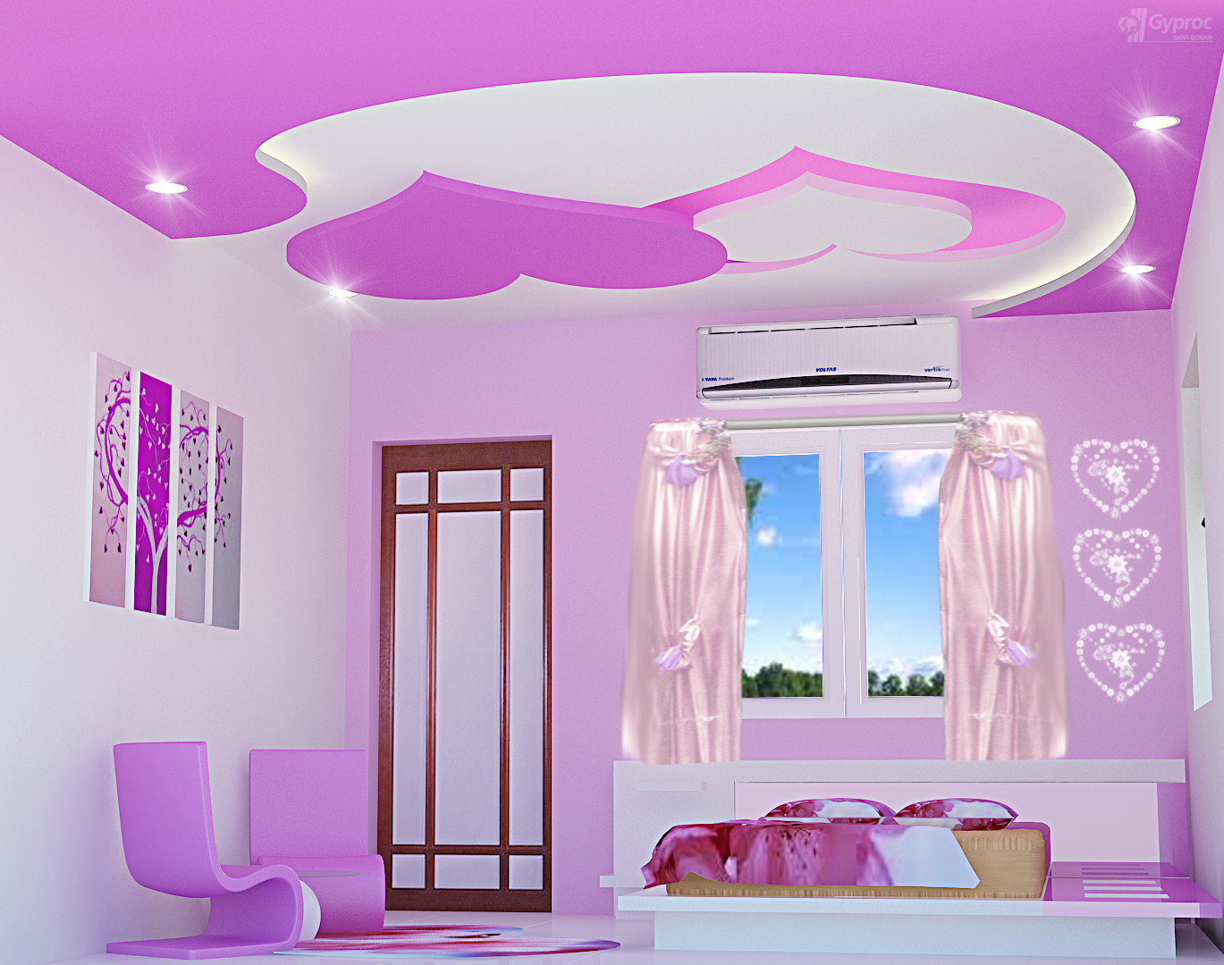 Kids Bedroom Ceiling Designs romantic heart ceiling, modern false ceiling for kids room