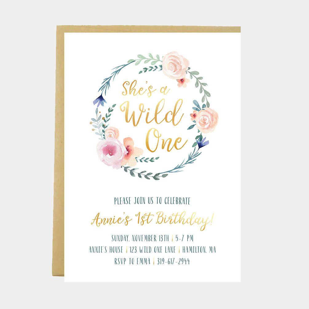 Girl Wild One Birthday Invitation, She's A Wild Invitation