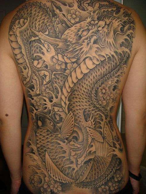 Dragon And Koi Tattoo Koi Tattoo Asian Dragon Tattoo