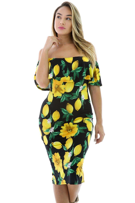 9ced64606cdb   RESTOCKED   Black Lemon Drop Ruffle Off Shoulder Dress