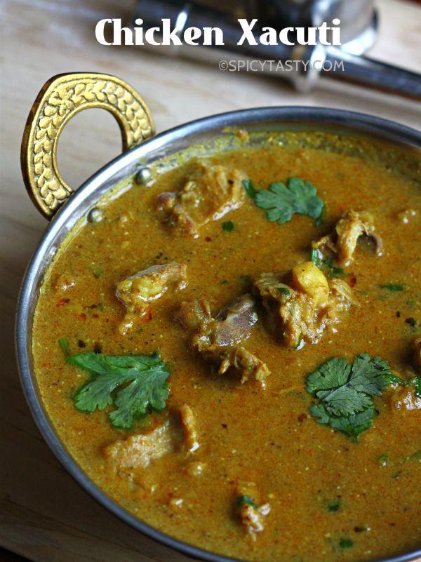 How To Make Chicken Xacuti Spicy Tasty Goan Recipes Recipes Curry Chicken Recipes