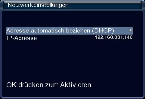 IP-Adresse des Receivers