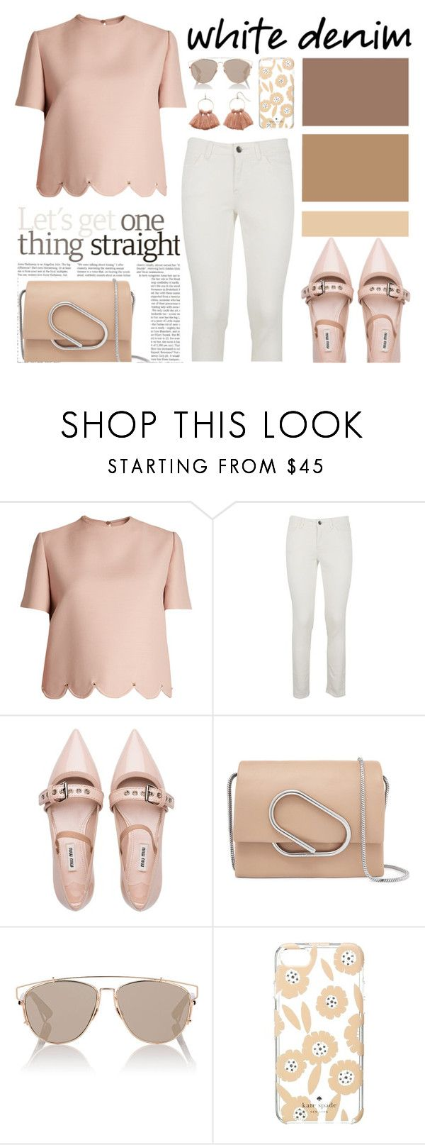 """""""Bright White: Summer Denim"""" by nadiahirbah288 ❤ liked on Polyvore featuring Valentino, Dolce&Gabbana, Miu Miu, 3.1 Phillip Lim, Christian Dior, Kate Spade and LC Lauren Conrad"""