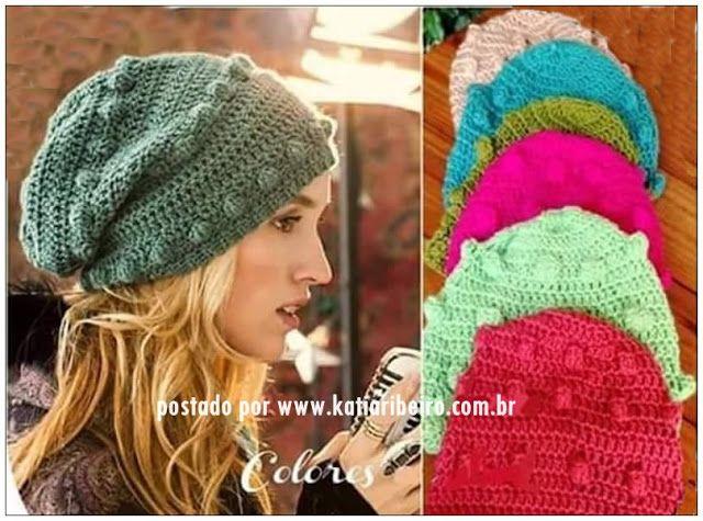 Katia Ribeiro Moda e Decoração Handmade   Gorro em Crochê Várias Cores com  Gráfico dos Pon. aba82cb692a