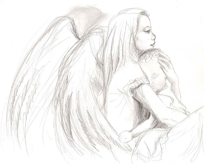 Guardian angel drawings and sketches guardian angel cuddling baby