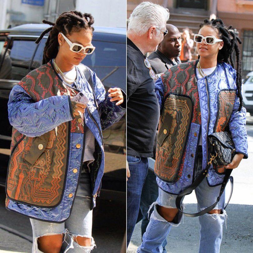 d16511f652370 Rihanna Peter Pilotto Fall 2017 quilted jacket