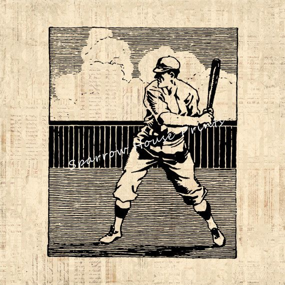 Baseball Player Antique Artwork Sports by SparrowHousePrints