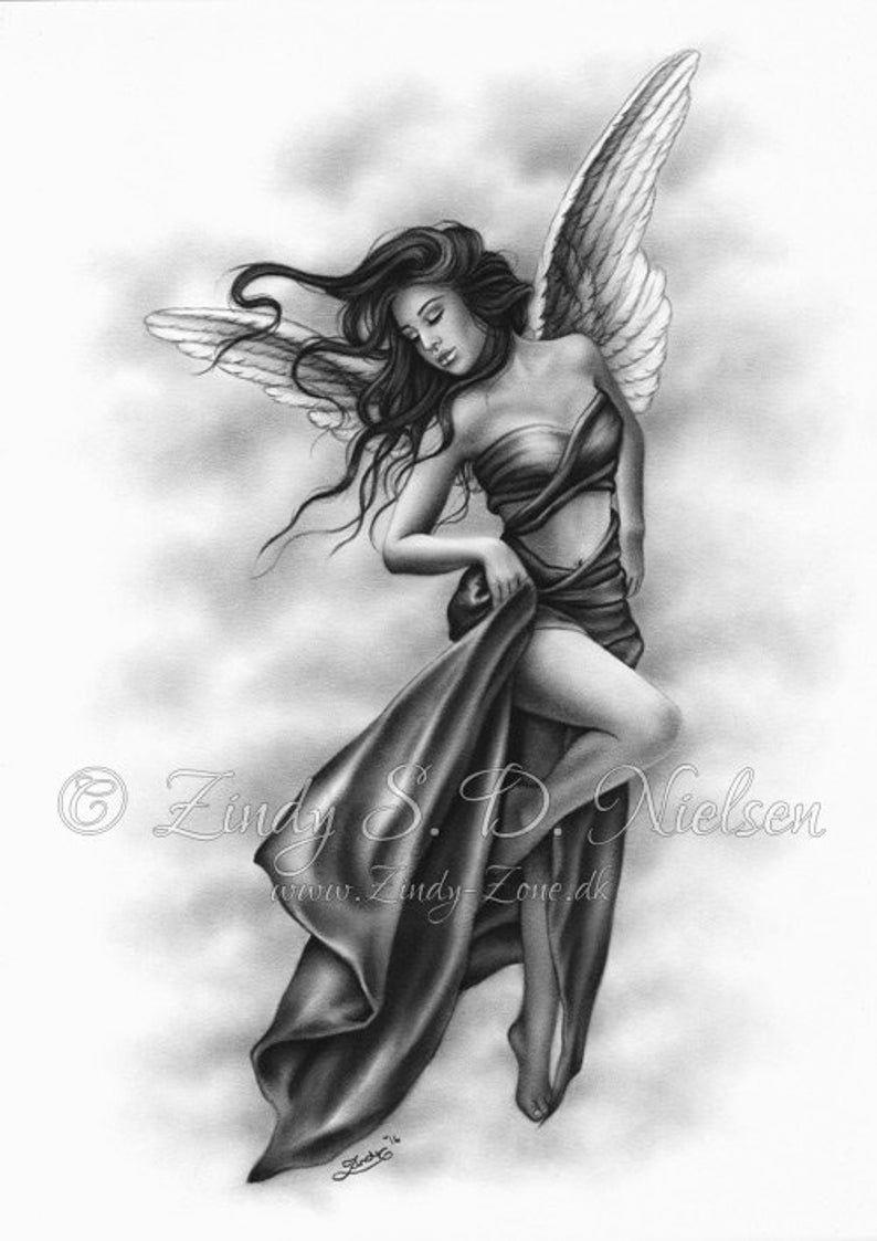 Angel Above Wings Satin Sky Heaven Art Print Emo Fantasy Girl | Etsy