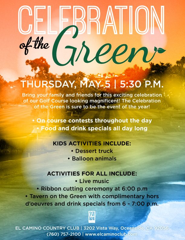 Celebration Of The Green Event Flyer Poster Template Golf Event Country Club Events Green Event