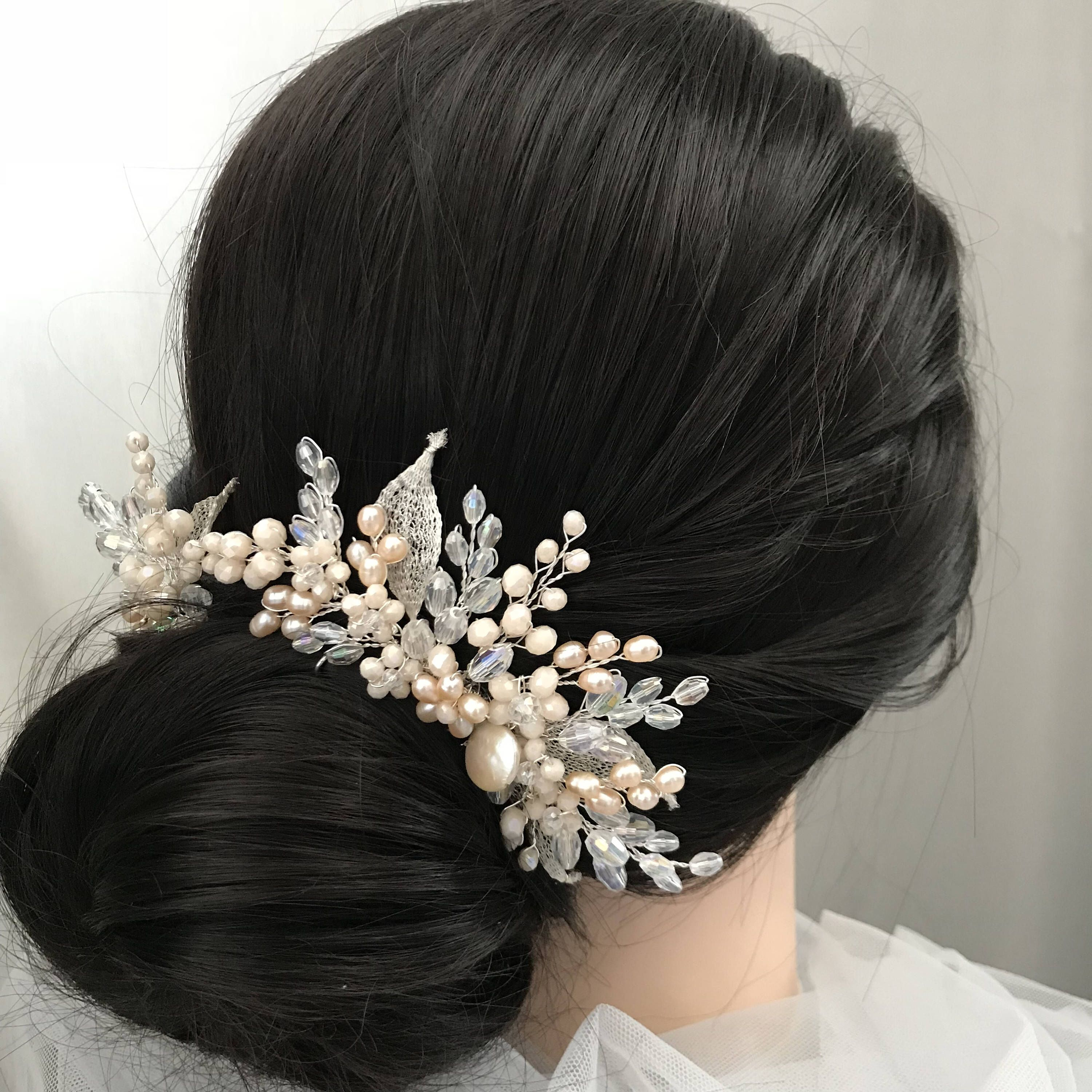 Pearl Bridal Hair Comb with Crystal Silver u Gold HairPin Wedding
