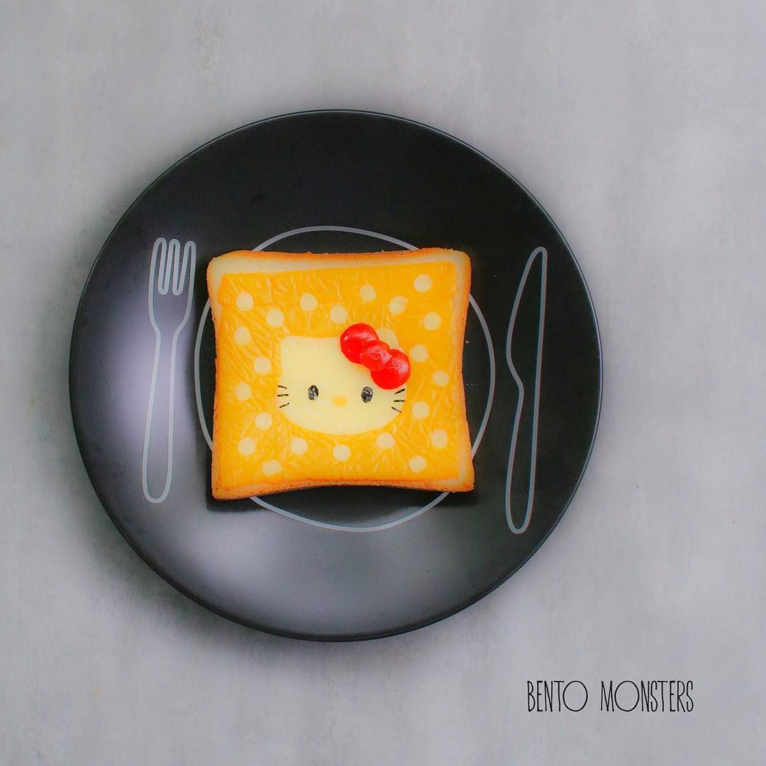 Polka Dot Hello Kitty Cheese On Toast By Bentomonsters