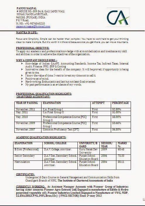 Example Of A Cv Format Financial Analysis Curriculum Vitae Resume Accountant Cv