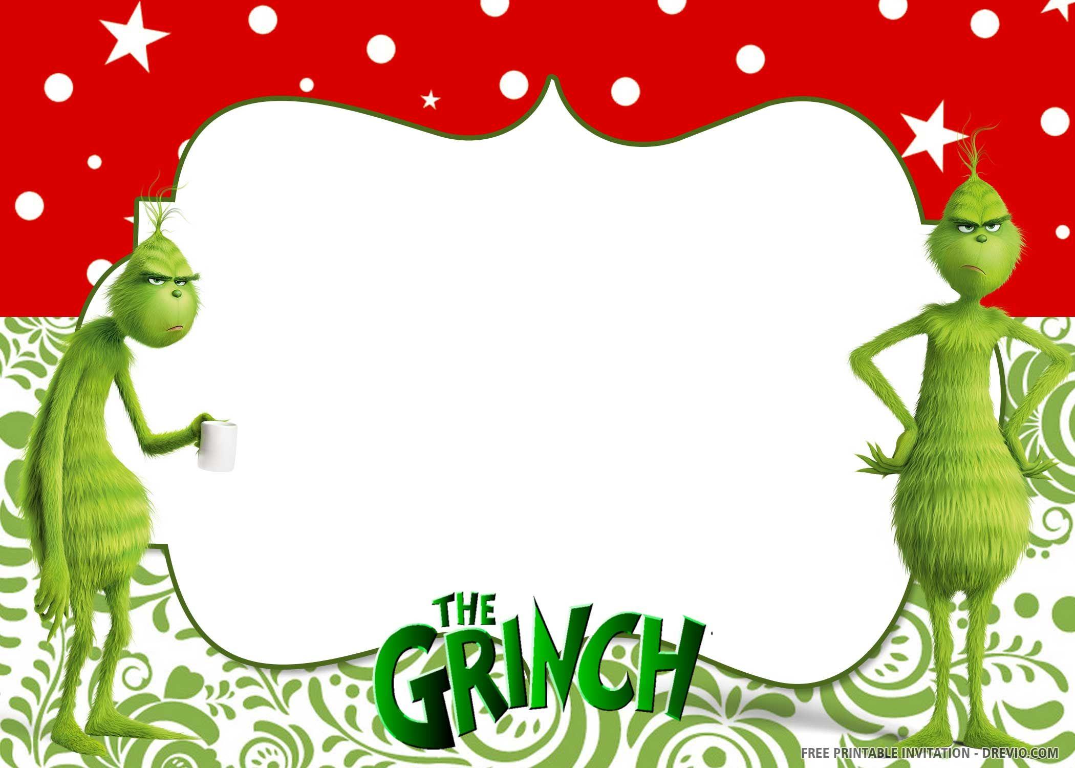 Free Printable Grinch Birthday Invitation Templates Christmas Party Invitation Template Christmas Invitations Template Birthday Invitation Templates