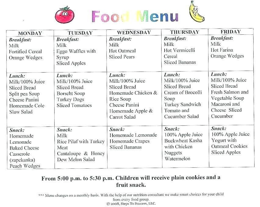 25 Daycare Lunch Menu Template in 2020 Daycare menu