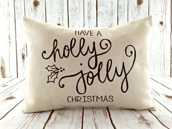 Have a Holly Jolly Christmas!  Pillow cover by Cozy Home Studio.