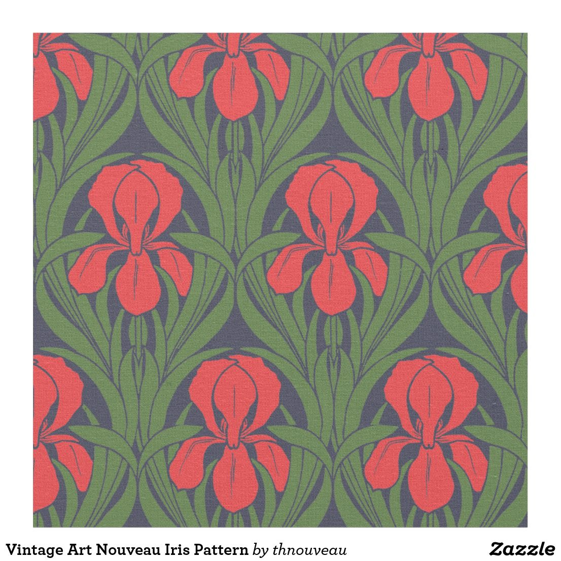 Vintage Art Nouveau Iris Pattern Fabric In 2020 Vintage Art Upholstry Fabric Colorful Backgrounds