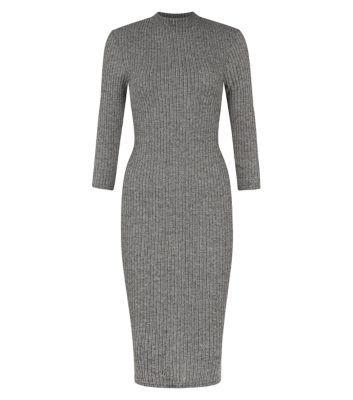 Grey Ribbed High Neck 3/4 Sleeve Midi Dress