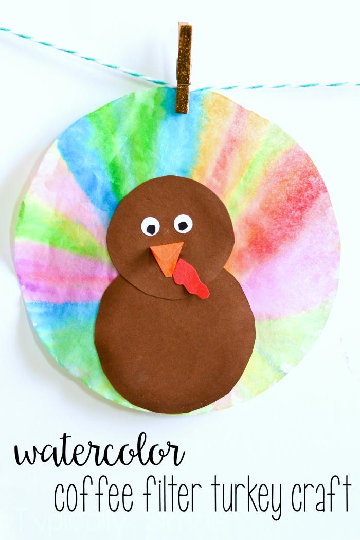 Watercolor Coffee Filter Turkeys #thanksgivingcrafts