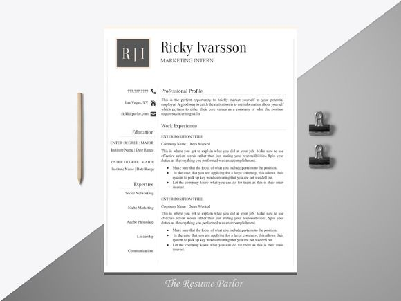 Resume Template 4 Page The Intern @creativework247 Resume - intern resume template