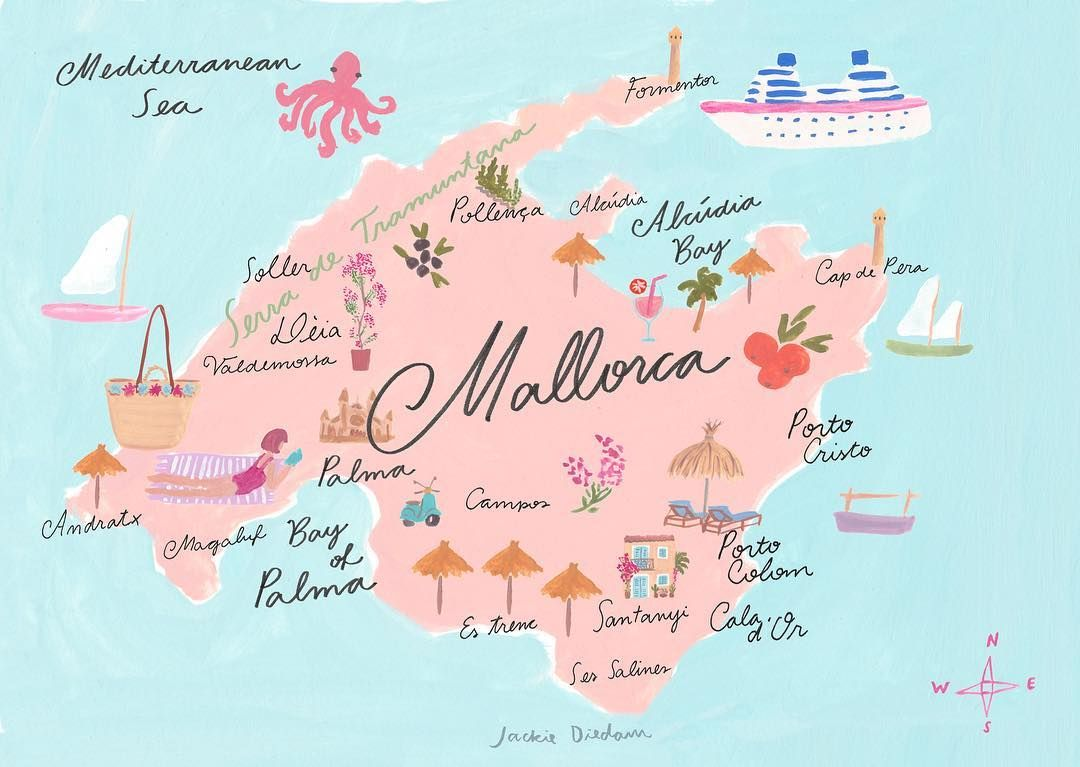 Map Of Mallorca Jackieillustrated Theydrawandtravel