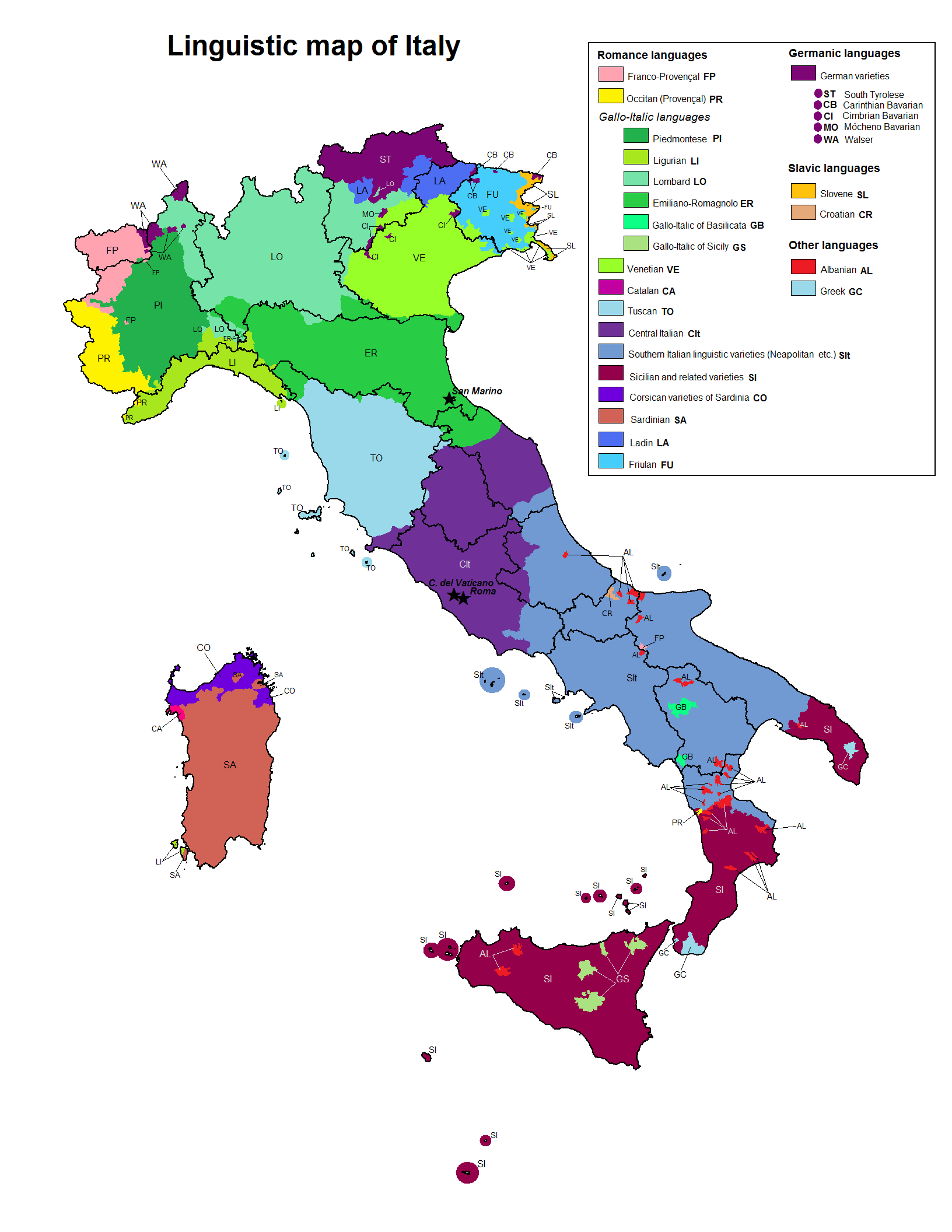 Linguistic map of Italy Maps