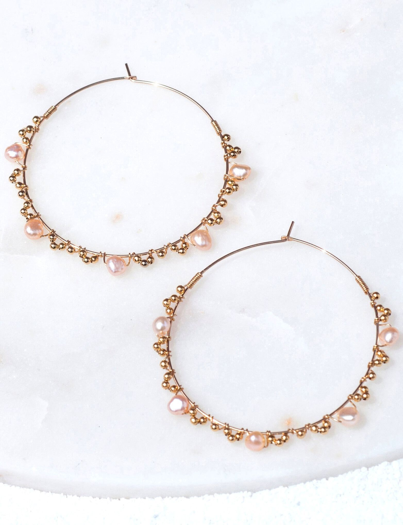 LUCIA Six Stone Emerald and Gold Beads 14k Gold Filled Hoop Earrings