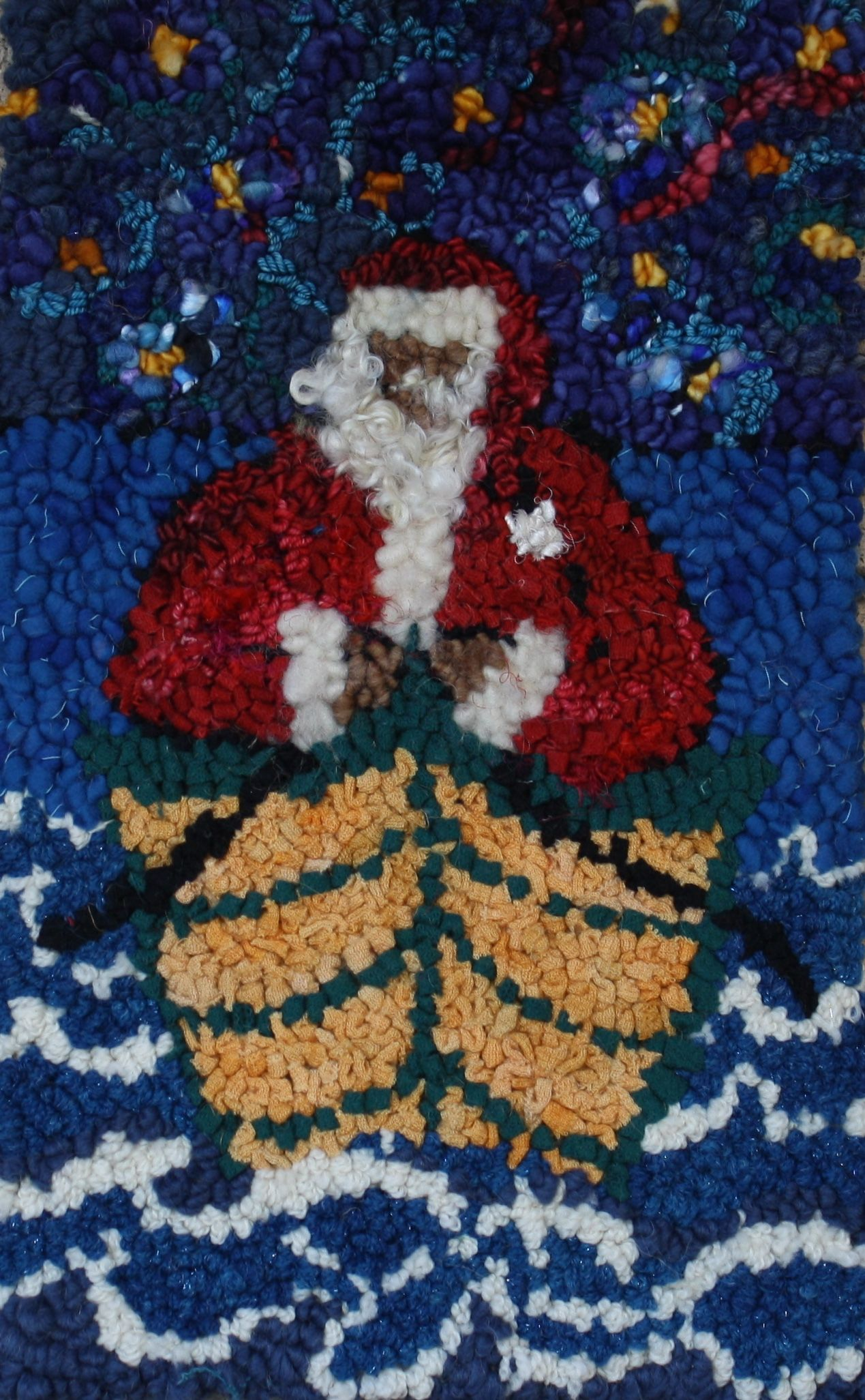 Maritime Santa by Deanne Fitzpatrick Christmas rug hooking Blue