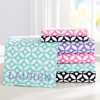 $109 PB Teen, Petal Dot Sheet Set, black! Can also monogram cases in bright colors!