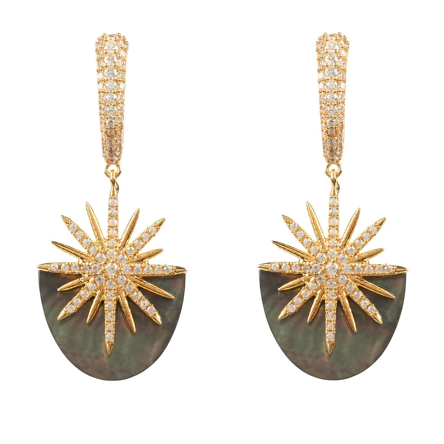 Shining like a firework this star burst earring uses natural mother