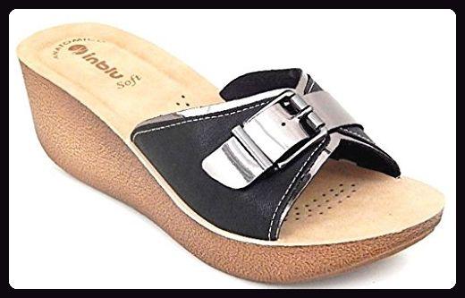 INBLU , Damen Sandalen schwarz schwarz 36, schwarz schwarz