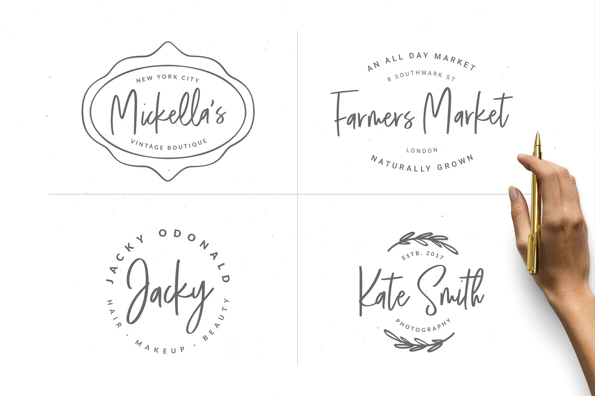 Think Pink Handwritten Font & Logos by VladCristea on