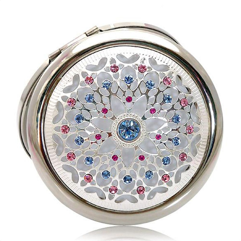 "Opentip.com: ALICE ""Fancy Colored Diamond"" Silvery Hollow Pattern Purse Mirror Favors, Deluxe Packaging"