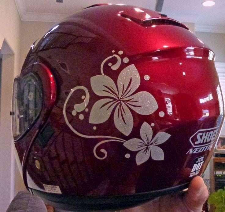 Plumeria Flower With Swirls And Dots Sticker Car Stickers - Motorcycle half helmet decalscustom motorcycle helmet decals and motorcycle helmet stickers