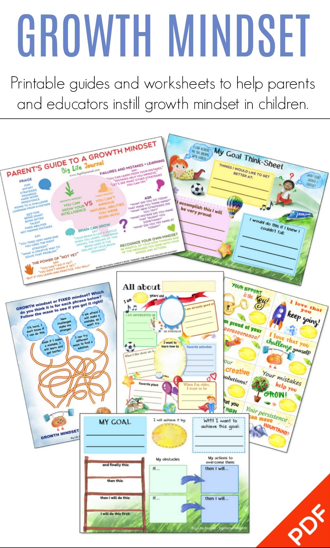 Growth Mindset Printables This Is A Set Of 25 Growth