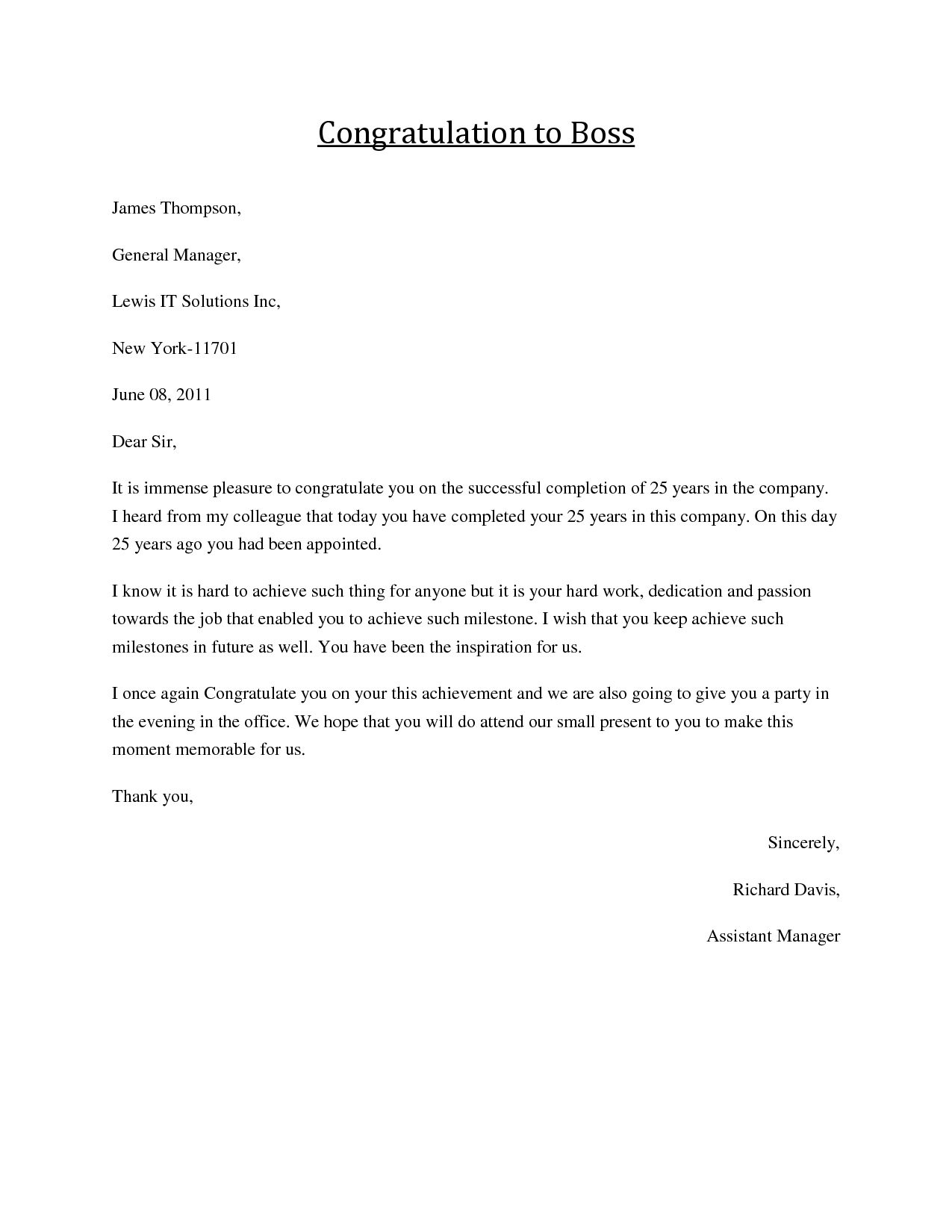 Congratulations Letter To Boss