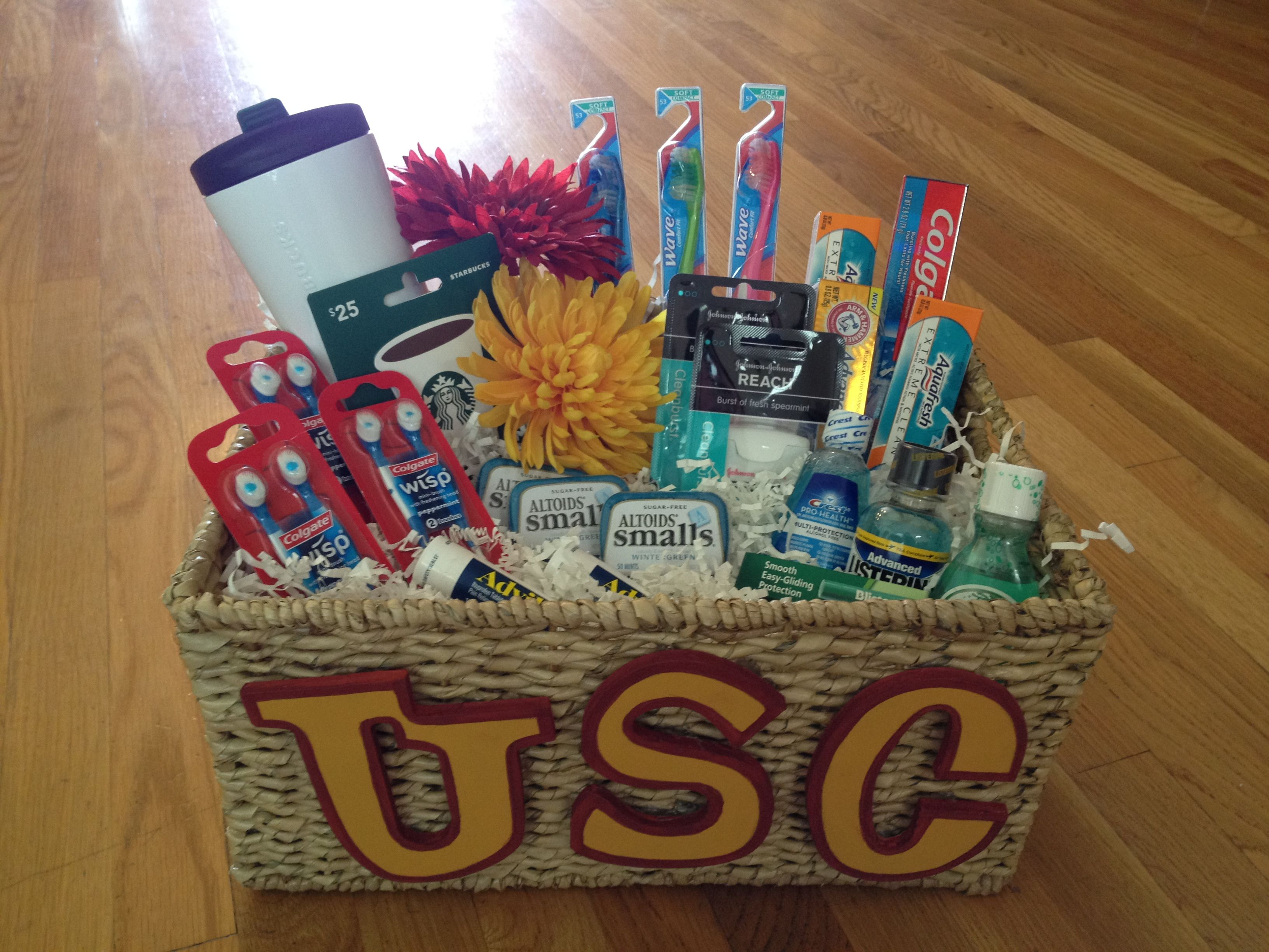 211 best teen gift basket images on pinterest college gift gift basket for usc dental hygiene student negle Image collections